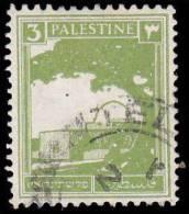 Palestine Scott # 64, 3m Yellow Green (1927) Rachel´s Tomb, Used - Palestine