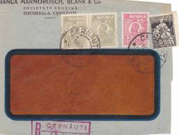 COVER FRAGMENT, CERNAUTI REGISTERED, 4 STAMPS Perfores, 1919, ROMANIA - Perfins