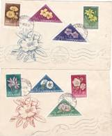 FLEURS, FLOWERS, 2 COVERS FDC, 1958, HUNGARY - FDC