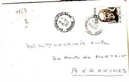 LSI 1954 Surtaxé Donville Manuel Avranches - Marcophilie (Lettres)