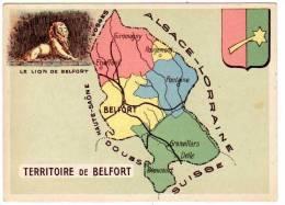 Chromo Contour Départemental, Blason : Territoire De Belfort (Lion De B., Granvillars, Giromagny) - Trade Cards