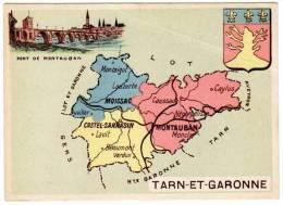Chromo Contour Départemental, Blason : Tarn-et-Garonne (Montauban, Moissac) - Trade Cards