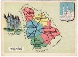 Chromo Contour Départemental, Blason : Vienne (Poitiers, Montmorillon, Loudun) - Trade Cards