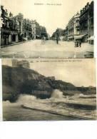 64 LOT DE 2 CARTES BIARRITZ PLACE DE LA LIBERTE PERSONNAGES COTES DES BASQUES PAR GROS TEMPS - Biarritz
