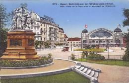 CH - Basel - Bahnhofplatz Mit Strassburgerdenkmal (automobile, Car) - BS Bâle-Ville