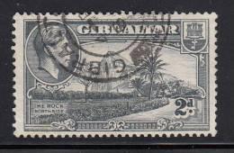 Gibraltar Used Scott #110 2p The Rock, Northside, Perf 13 Watermark Sideways  - George VI - Gibraltar
