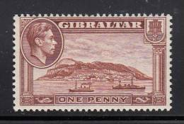 Gibraltar MH Scott #108c 1p Rock Of Gibraltar, Perf 13.5  Watermark Sideways  - George VI - Gibraltar