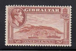 Gibraltar MNH Scott #108c 1p Rock Of Gibraltar, Perf 13.5  Watermark Sideways  - George VI - Gibraltar