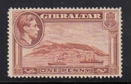 Gibraltar MH Scott #108a 1p Rock Of Gibraltar, Perf 14  - George VI - Gibraltar