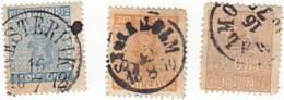 SUEDE - Armoiries - 3 Timbres Oblitérés - 1858/70 - - Oblitérés