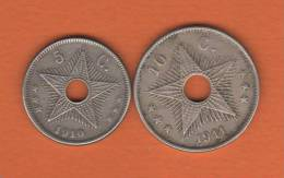 Congo Belge - 2 Pieces De ; 5 Cts De 1910 Et 10 Cts De 1911  (nickel) Cat World N°KM  9 Et 10- Bon état- - Congo (Belge) & Ruanda-Urundi