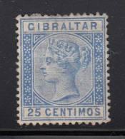 Gibraltar MH Scott #32 25c Victoria, Blue - Gibraltar