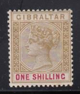 Gibraltar MH Scott #21 1sh Victoria, Bister And Carmine Rose - Gibraltar