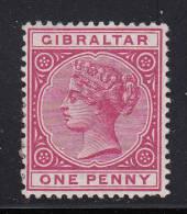 Gibraltar Unused Scott #10 1p Victoria, Rose - Gibraltar