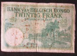B00246 Congo Belge (NBBC-B15), 1929, 20 Francs * - Banco De Congo Belga