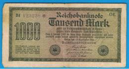 ALEMANIA - GERMANY -  1000 Mark 1922  Circulado P-76 Serie OE - [ 3] 1918-1933 : República De Weimar