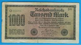 ALEMANIA - GERMANY -  1000 Mark 1922  Circulado P-76 Serie DV - [ 3] 1918-1933 : República De Weimar