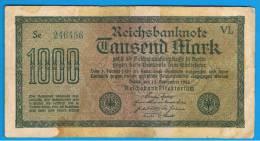 ALEMANIA - GERMANY -  1000 Mark 1922  Circulado P-76 Serie VL - [ 3] 1918-1933 : República De Weimar