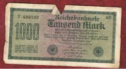 ALEMANIA - GERMANY -  1000 Mark 1922  Circulado P-76 Serie GD - [ 3] 1918-1933 : República De Weimar