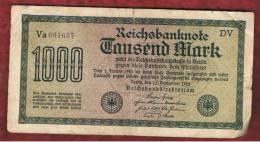 ALEMANIA - GERMANY -  1000 Mark 1922  Circulado P-76 Serie  DV - [ 3] 1918-1933: Weimarrepubliek
