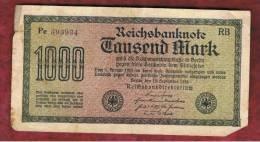 ALEMANIA - GERMANY -  1000 Mark 1922  Circulado P-76 Serie  RB - [ 3] 1918-1933 : República De Weimar