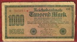 ALEMANIA - GERMANY -  1000 Mark 1922  Circulado P-76 Serie  OE - C - [ 3] 1918-1933 : República De Weimar
