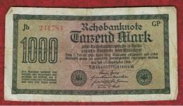 ALEMANIA - GERMANY -  1000 Mark 1922  Circulado P-76 Serie  GP - [ 3] 1918-1933 : República De Weimar