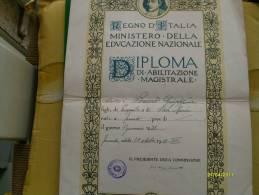 1939 DIPLOMA ABILITAZIONE MAGISTRALE Taranto Istituto Poligrafico Dello Stato - Diploma & School Reports