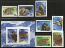 Kyrgyzstan 1995 Bear Leopard Raptor Wild Life Birds Animals Sc 53-60 7v + M/s IMPERF MNH # 12966 - Aigles & Rapaces Diurnes