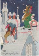 Publicité  - Laboratoire Le Brun - Illustration Albert Dubout - Le Père Noël Vert Sur Les Toits - Reclame