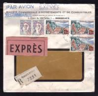 2ème échelon Pour L'ALLEMAGNE / EXPRES Recommandé Avion à 3F40 / BORDEAUX 06.01.1964 / Détails Tarif Dans Description - Marcophilie (Lettres)