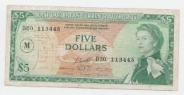 East Caribbean States 5 Dollars 1965 VF Banknote P 14n 14 N (Letter M) - Caraïbes Orientales