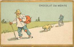 Chromos Réf. B563. Chocolat Du Mérite - Vieil Homme, Sabot, Canne, Chien, Cycliste - Chocolat