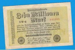 ALEMANIA - GERMANY -  10 Millones  Mark 1923 MBC+   P-106  Serie BW - [ 3] 1918-1933 : República De Weimar