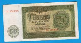 ALEMANIA - GERMANY - 50 Deutschemark 1948 MBC  P-14b - [ 6] 1949-1990 : GDR - German Dem. Rep.