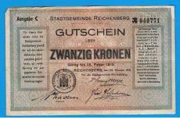ALEMANIA - GERMANY -  REIDENBERG  20 Kronen 1919 MBC+ - [ 9] Ocupaciones Alemanas