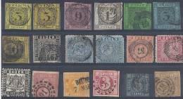 ETATS ALLEMANDS - Bon Ensemble De Timbres Classiques -  9 Scans - Collections