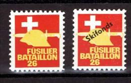 FP 498 - INFANTERIE - FÜSILIER BATAILLON 26 - Avec Et Sans Surcharge Skifonds - Vignettes