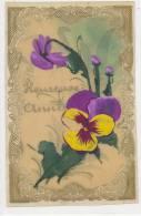 HEUREUSE  ANNEE  Carte Celluloïd Fleurs