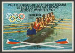 """Nicaragua 1976 B 94 - Mi 1958 Aero ** USA Crew –Olympic Games, Montreal 1976 – First Women's Rowing """"Eights"""" Event - Estate 1976: Montreal"""