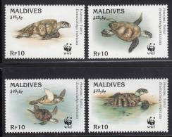 Maldives MNH Scott #2092a-#2092d Set Of 4 10r Hawksbill Turtles - World Wildlife Fund - Maldives (1965-...)