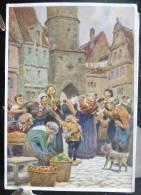 Rare LITHO Image Allemande 12X17 Illustrateur PAUL HEY Deutsche Marchen 4 N° 48 Der Zwerg Nase W. HAUFF - Collections