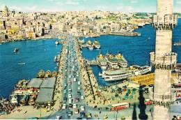 ISTANBUL Ve GÜZELLIKLERI - Galata Köprüsü, Galata Bridge, Le Pont De Galata, Superbe Animation Bateaux, Voitures Et Bus - Turkey