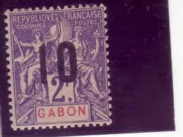 GABON-2 FR-OVERPRINT 10-FRANCE COLONIES-1912 - Ongebruikt