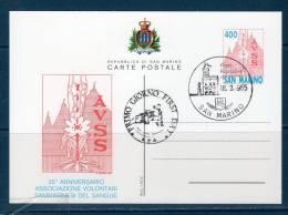 "San Marinoi/ San Marin 1985  --- Cartolina Postale ""AVSS"" -- FDC - Interi Postali"