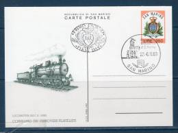 "San Marinoi/ San Marin 1983  --- Cartolina Postale ""Ferrovieri Filatelisti"" -- FDC - Interi Postali"
