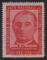 EMISSIONE DI BENEFICENZA - A Beneficio Del Comitato Nazionale Pro Vittime Politiche: Lire 1 / Don G. Minzoni - 1945/46 - Ungebraucht