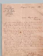 Entête Du 22/06/1895 FABRE Bois Et Scierie à Vapeur - Langon - France