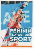 Ref 114 CPM Type Cart'com Carte à Pub Sport Ski Féminin - Cartes Postales