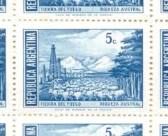 AÑO 1970 A 1973 SERIE BASICA PROCERES Y RIQUEZAS NACIONALES III HUECOGRABADO RIQUEZA AUSTRAL MNH TBE CADRE BLOC DE QUATR - Argentina